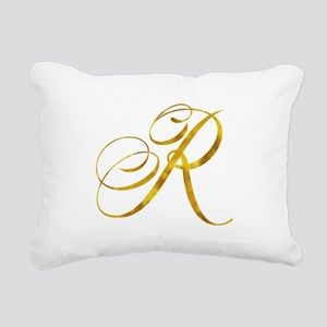 Monogram R Gold Faux Foi Rectangular Canvas Pillow